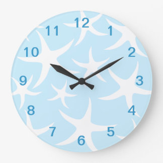 White Starfish Pattern on Light Blue. Large Clock
