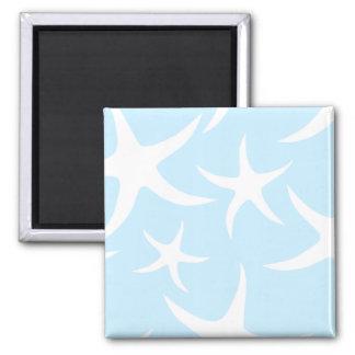 White Starfish Pattern on Light Blue. Magnet