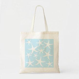 White Starfish Pattern on Light Blue. Tote Bag