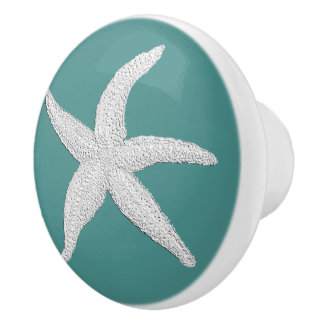 White Starfish & Your Background Color Ceramic Knob