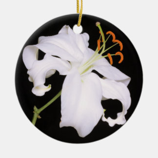 White Stargazer Lily Double-Sided Ceramic Round Christmas Ornament