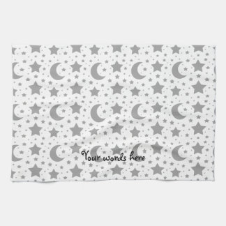 white stars and moon patterns tea towel