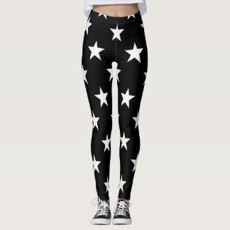 White Stars Black Modern Stylish Simple Pattern Leggings