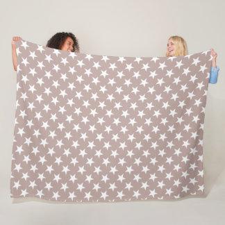 White Stars Light Brown Colour Design Star Modern Fleece Blanket