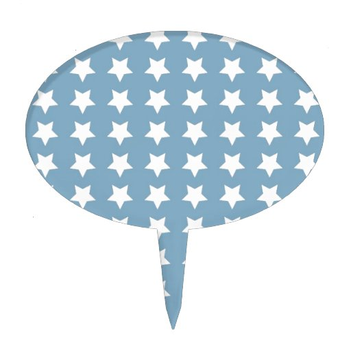 White Stars On Grey Blue Cake Toppers