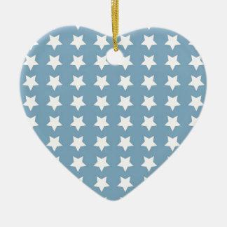 White Stars On Grey Blue Ceramic Heart Decoration