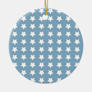 White Stars On Grey Blue Christmas Ornament