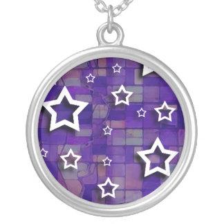 White Stars on Purple Tiles: Necklace
