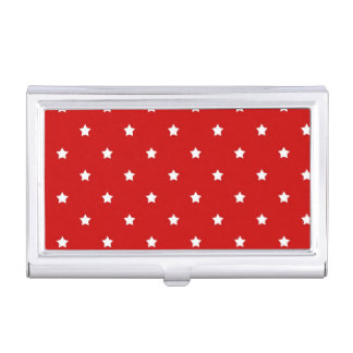 White Stars on Red Business Card Holder