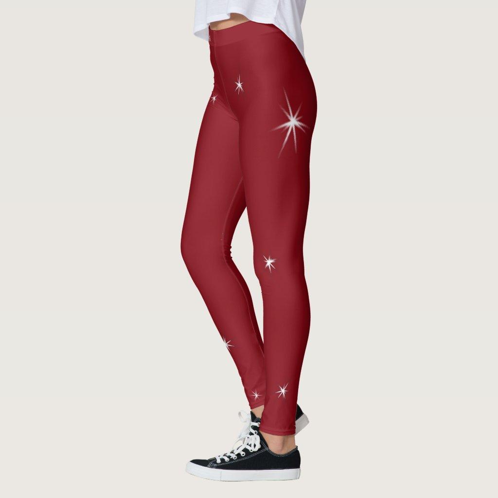 White Stars on Red Leggings