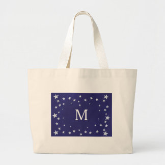 White Stars on Royal Navy Blue Monogram Tote Bags Jumbo Tote Bag