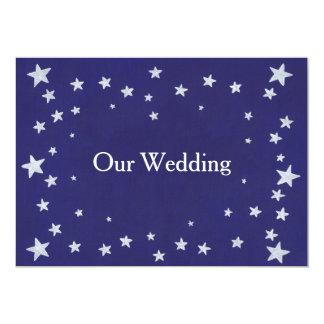 White Stars on Royal Navy Blue Wedding Invitations