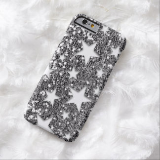 White Stars on Silver Glitter Look Barely There iPhone 6 Case