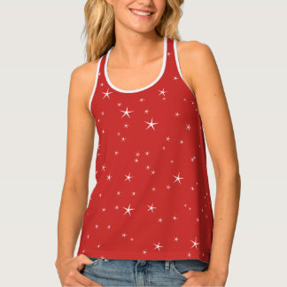White Stars Pattern on Red Background Tank Top