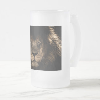 white stein, 16 oz, gold trim, lion, frosted frosted glass beer mug
