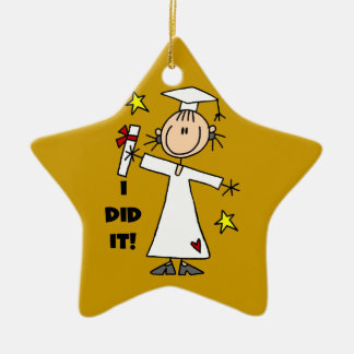White Stick Figure Girl Graduate on Gold Christmas Ornament