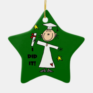 White Stick Figure Girl Graduate on Green Christmas Ornament
