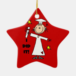 White Stick Figure Girl Graduate on Red Ceramic Star Decoration