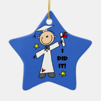 White Stick Figure Male Graduate Christmas Ornament