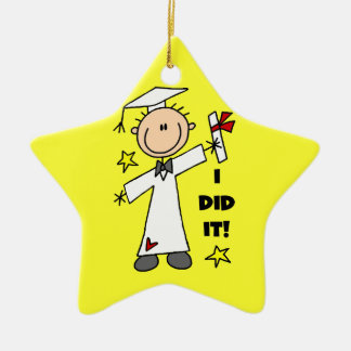 White Stick Figure Male Graduate on Yellow Christmas Ornament