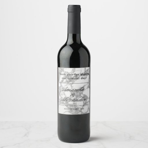White stone marble wedding wine, beer and water Wine Label