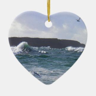 White Strand Beach, Ireland Ceramic Heart Decoration
