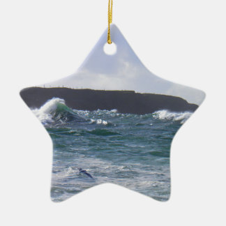 White Strand Beach, Ireland Ceramic Star Decoration