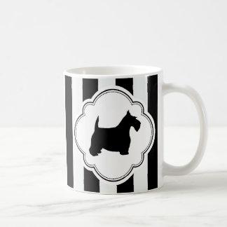 White Stripe Black Scottie Basic White Mug