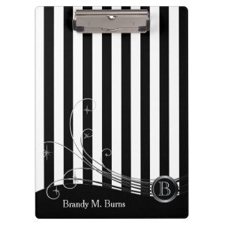 White Stripes and Black Swirls Clipboard