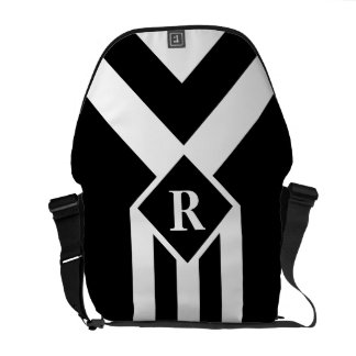 White Stripes and Chevrons on Black with Monogram Messenger Bags