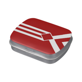 White Stripes and Chevrons on Red Jelly Belly Candy Tins
