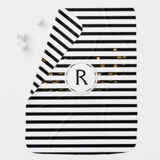 "White Stripes ""faux 3D"" Monogram   Baby Blanket"