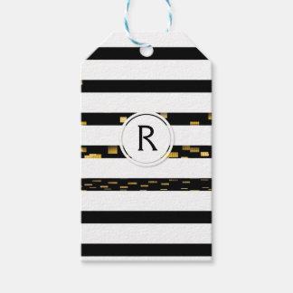 "White Stripes ""faux 3D"" Monogram   Gift Tag"