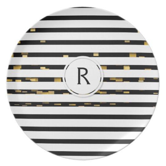 "White Stripes ""faux 3D"" Monogram | Melamine Plate"