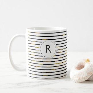 "White Stripes ""faux 3D"" Monogram   Mug"