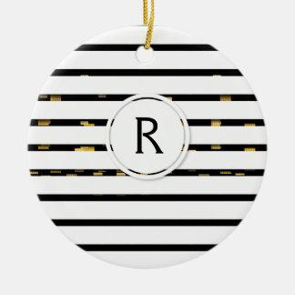 "White Stripes ""faux 3D"" Monogram   Ornament"