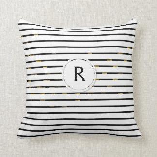 White Stripes -faux 3D- Monogram   Throw Pillow
