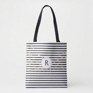 """White Stripes """"faux 3D"""" Monogram   Tote Bag"""
