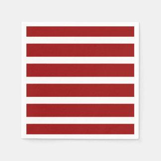 White Stripes on Nautical Red Paper Napkins
