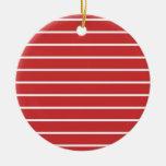 White Stripes on Red クリスマスツリーオーナメント