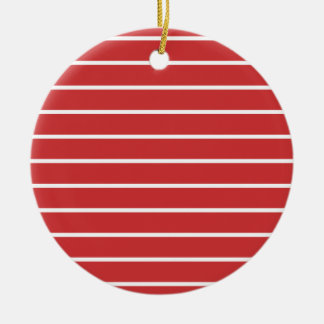 White Stripes ON Red Christmas Ornament