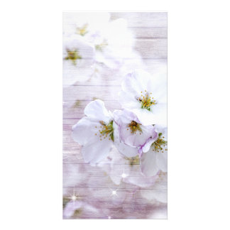 White Stylish Cherry Blossom Customised Photo Card