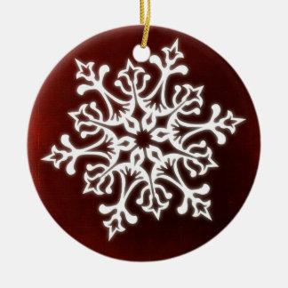 White Stylish Snowflake on Dark Red Round Ceramic Decoration