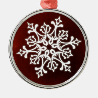White Stylish Snowflake on Dark Red Silver-Colored Round Decoration