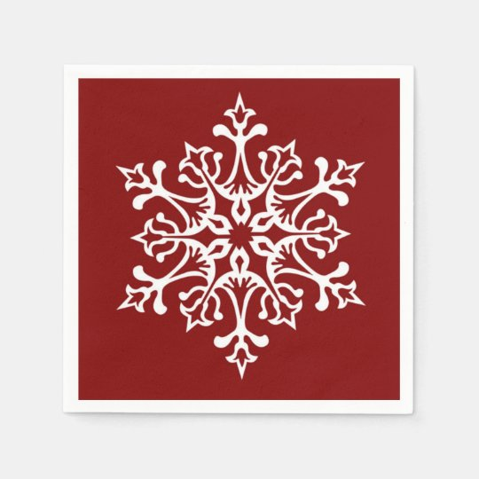 White Stylish Snowflake on Red Disposable Napkin