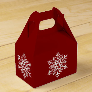 White Stylish Snowflake on Red Favour Box