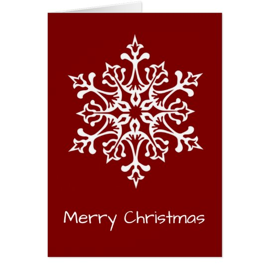White Stylish Snowflake on Red Merry Christmas Card