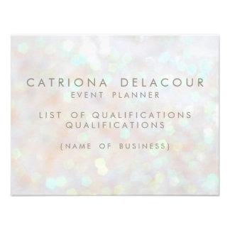 White Subtle Glitter Bokeh Business Employee Card