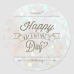 White Subtle Glitter Bokeh Valentine's Day Sticker