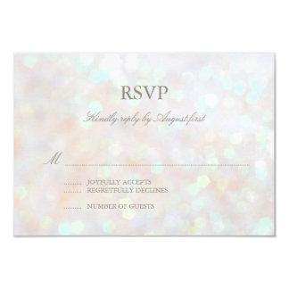 White Subtle Glitter Bokeh Wedding RSVP Card 9 Cm X 13 Cm Invitation Card